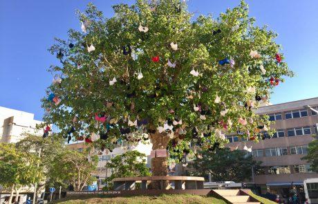 עץ החזיות: מיצב אומנותי לקידום המאבק בסרטן השד הוקם סמוך לקניון גבעתיים